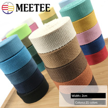 Meetee 8Yards 20MM 1.5cm Thick Polyester Cotton Canvas Webbing Ribbon Binding Tape Bag Belt Strap Garments Sewing Accessories