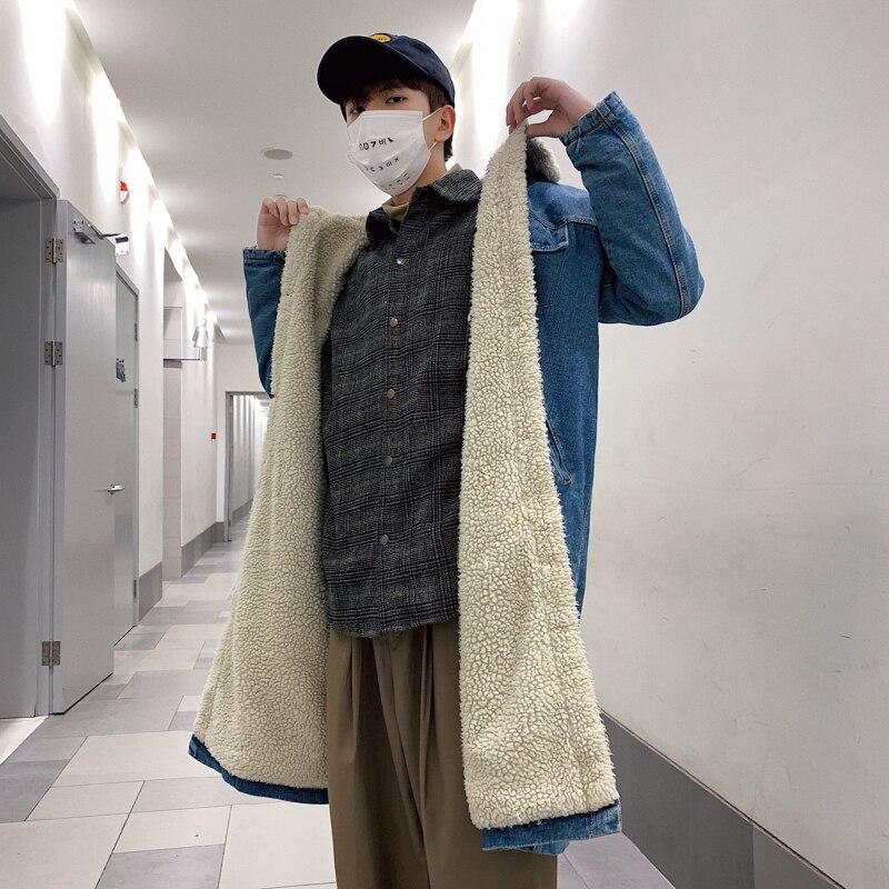 xl Coréen D'agneau De Cowboy Lâche Denim Blue Parkas Bleu Outwear Casual Manteau M Long 2018 Mode rembourré Hiver Hommes Épaississent Coton Revers 5qwtYR8