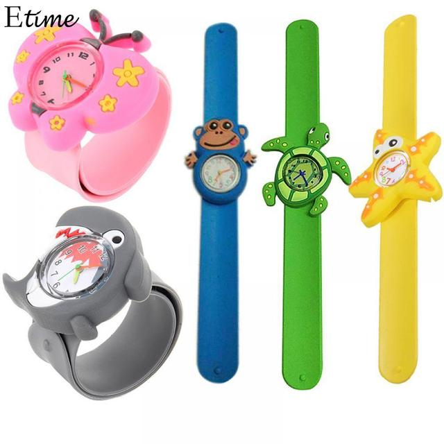 Children Watchsnap Cartoon Slap Cute Wristwatch Silicone Watches Kids Watch Anim