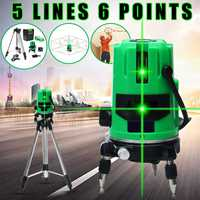 5 Line 6 Point Laser Level Self Leveling 360 Rotary Cross Vertical Horizontal Green Laser Beam Line Outdoor Indoor Mode w/Tripod