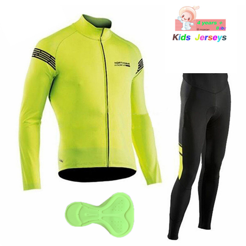 a4ae93666 Children s NW Pro Team Cycling Jerseys Long Sleeve Breathable Cycling  Clothing Set Boys Ropa Ciclismo Kids Bicycle Clothing Suit