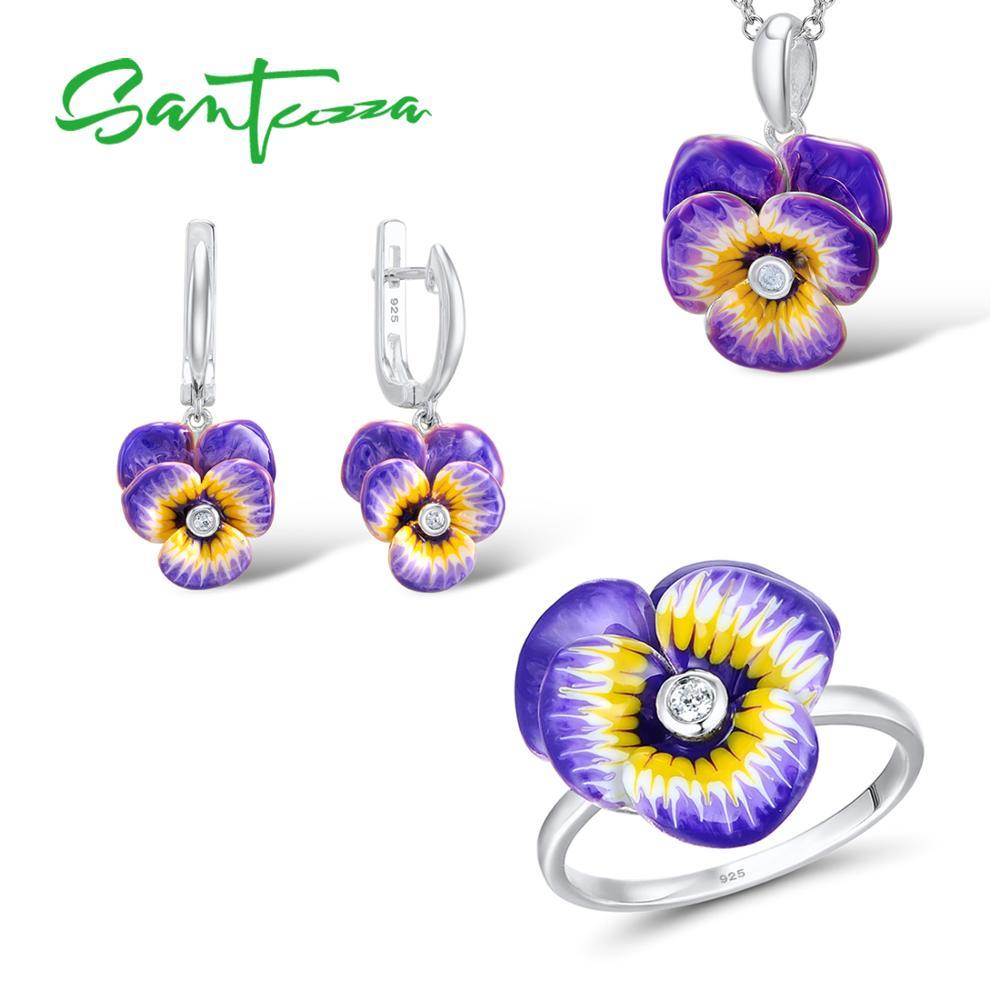 Santuzza Jewelry Set HANDMADE Enamel Purple Flower CZ Stone Ring Earrings Pendent Necklace 925 Sterling Silver