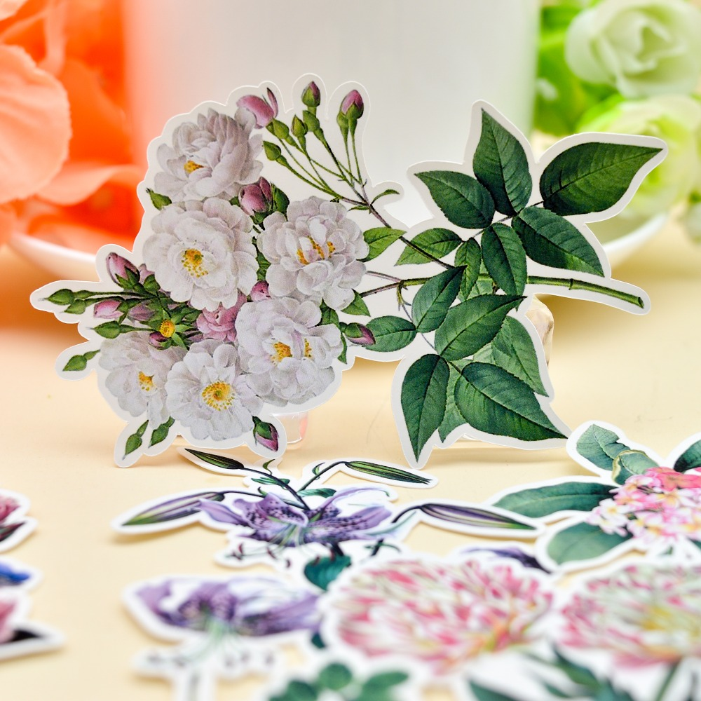 15pcs Water Color Retro Flower Sticker Planner Scrapbooking DIY Notebook Chrysanthemum Sticker/ Gilrs Romantic Rose Sticker