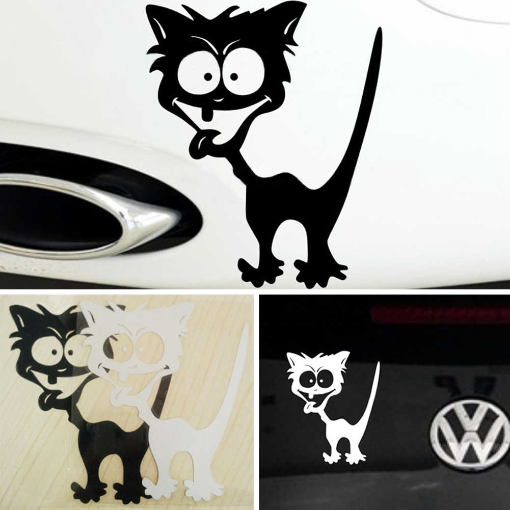 2019 Cat Car Styling Sticker on Car Reflective Waterproof Vinyl Funny Crazy Cat Car Sticker Accessories for Mazda Cruze Peugeot