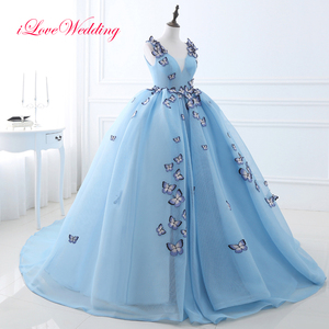 Fashion Light Blue Wedding Dresses 2019 Ball Gown With Butterfly Applique Off The Shoulder V Neckline Long Princess Bridal Gowns(China)