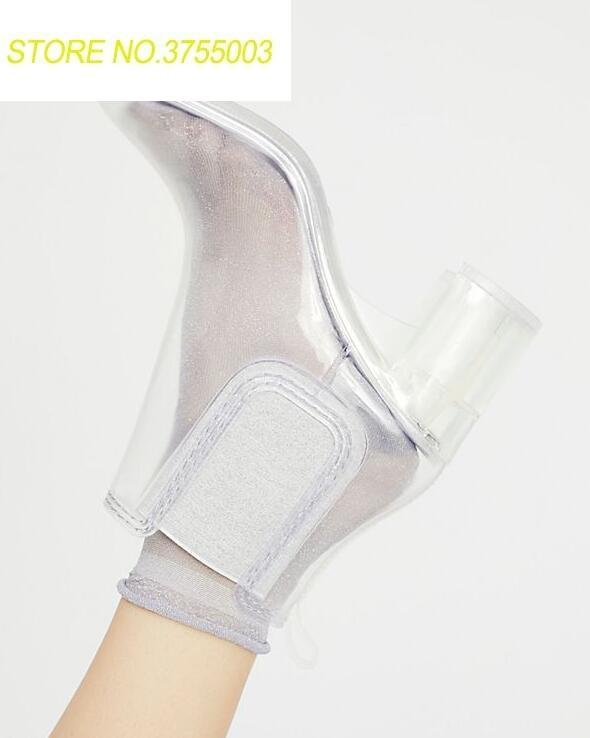2018 Spring Newest Women Clear PVC Ankle Boots Sexy Square Toe Ladies Slip On Boots Crystal Chunky Heel Female Knight Boots2018 Spring Newest Women Clear PVC Ankle Boots Sexy Square Toe Ladies Slip On Boots Crystal Chunky Heel Female Knight Boots