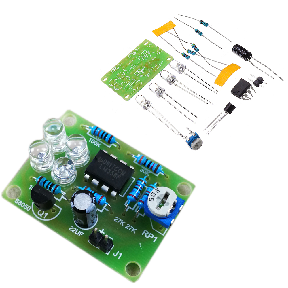 DIY Blue LED Flash Lamp Electronic Production Kit LM358 Brea