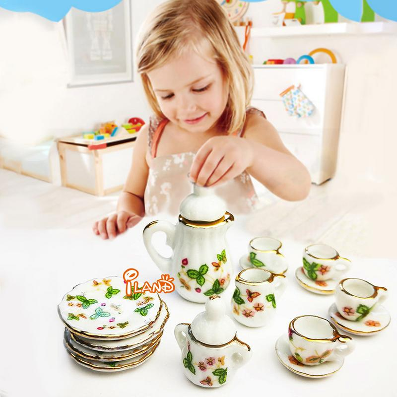 1:12DIY Doll House Children's Home-to-Home Toys Tableware Simulating 15 Ceramic Tea Sets Doll House Children's Play House