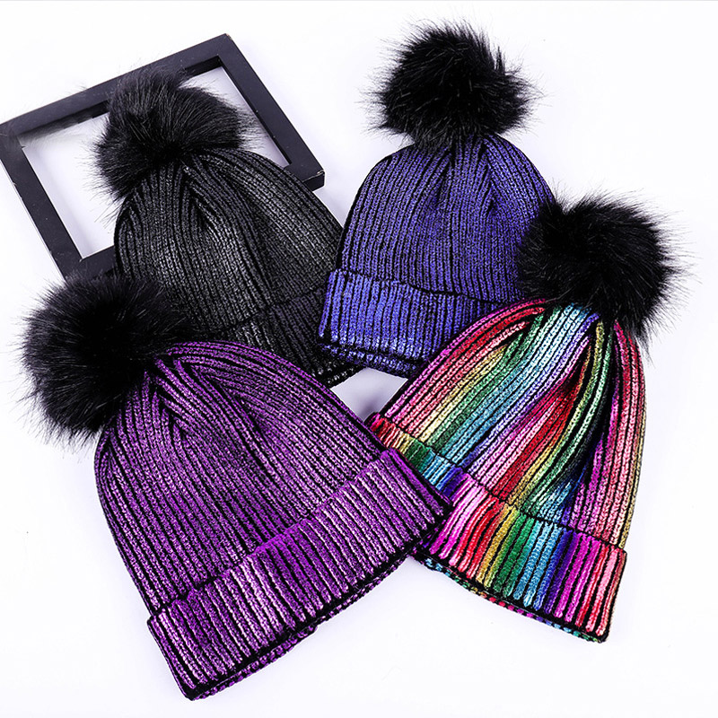Warm For Women Hat Hot Sale Golden Knitted   Skullies     Beanie   1PC   Beanies   Silvery Girls Winter Bronzing High Quality Women Female
