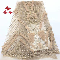 New Complicated Embroidery African 3D Handwork Lace Mix French Lace Fabric Unique Soft Shiny Allover Small Sequins 5 Yards AFFJF