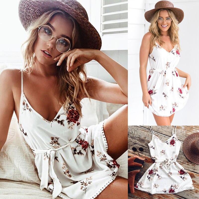 Vestidos Sexy Woaman 2019 Newest Dress Sleeveless Floral Summer Women Mini Dress Casual Party Short Dress Off Shoulder Sexy Hot