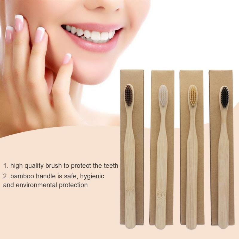 1PCS Environmentally Wood Toothbrush Novelty Bamboo Tooth Brush Bamboo Fibre Wooden Handle Teeth Whitening Toothbrush image