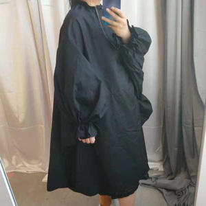 Image 3 - [Eam] 2020春夏の女性のスタイリッシュな新パープルブラックカラーロングパフスリーブスタンドカラーロングルーズビッグサイズドレスLG03