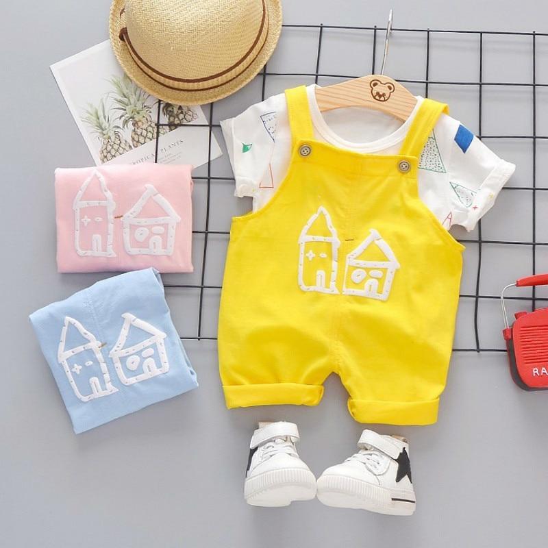Summer Baby Girls Boys Clothes Infant Color T Shirt Kids Cartoon House Pattern Bib Pants 2pcs/sets Children Casual Sport Suits