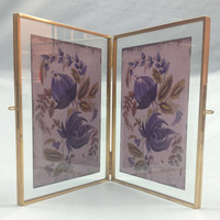 Europe Metal Photo Frames with Glass Surface, Vintage Standing Picture Frames, 2pcs Unite Tabletop Decoration, 3 Sizes Optional