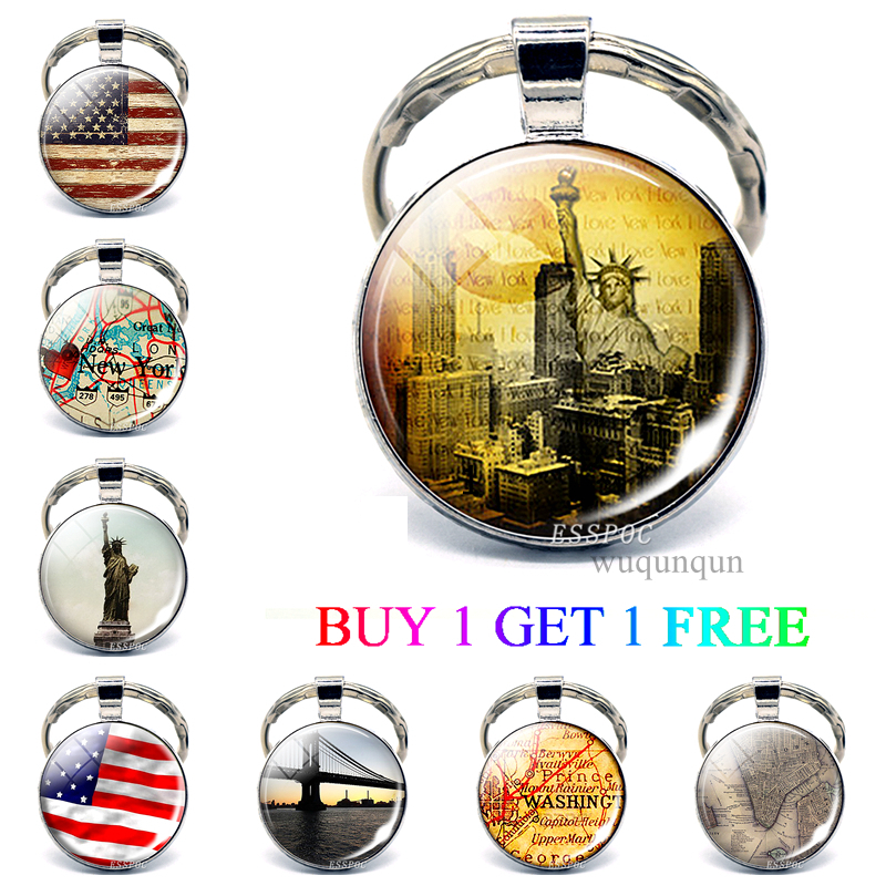 New York Keychain Pendant US Flag Souvenir Travel Glass Cabochon Jewelry Statue Of Liberty American Map Flag Key Ring Women Gift