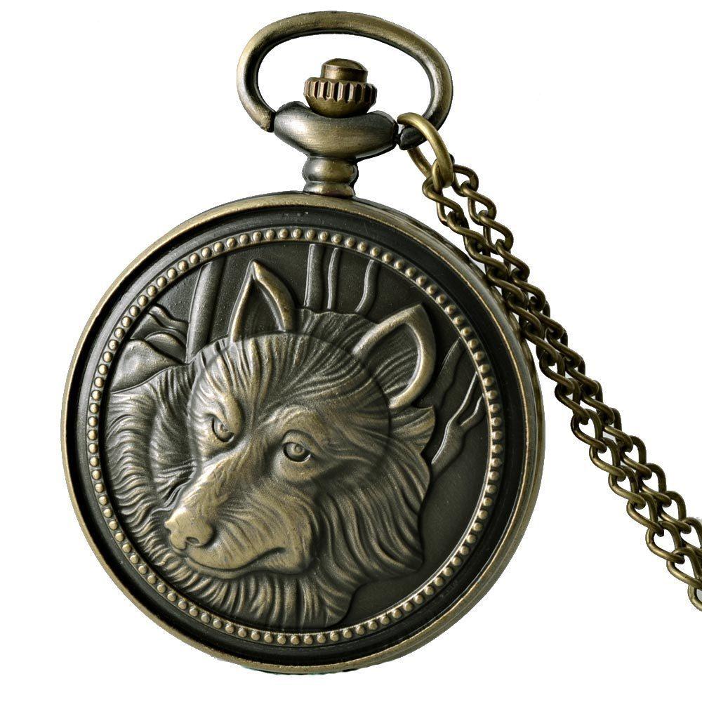 Full Hunter Quartz Engraved Fob Retro Pendant Pocket Watch Chain Gift