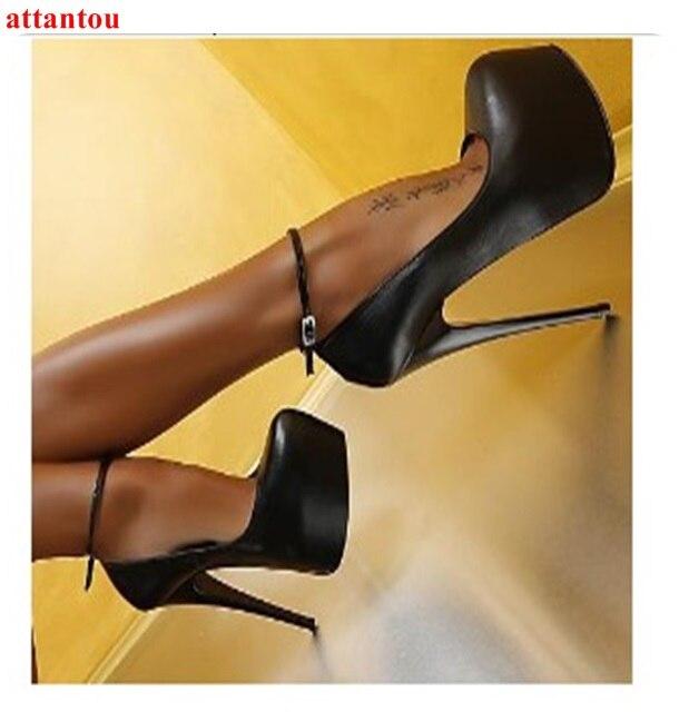 Fête Chaussures Femme Cheville Talon Tenue Plate forme Mince Rond Femmes Simples De Sexy Pompes Bout Noir Boucle Mode Haute gxwq76t8Z
