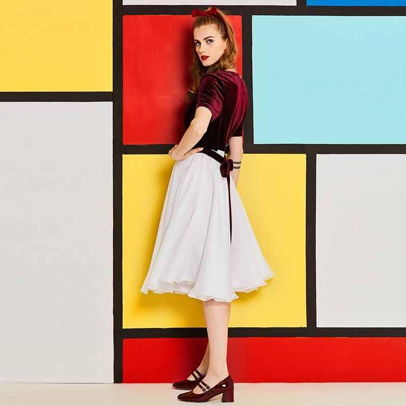 Бархат Винтаж платье для женщин 1960 s летняя мода лоскутное тонкий кружево до линии элегантный дизайн молодая девушка элегантный шик Свинг