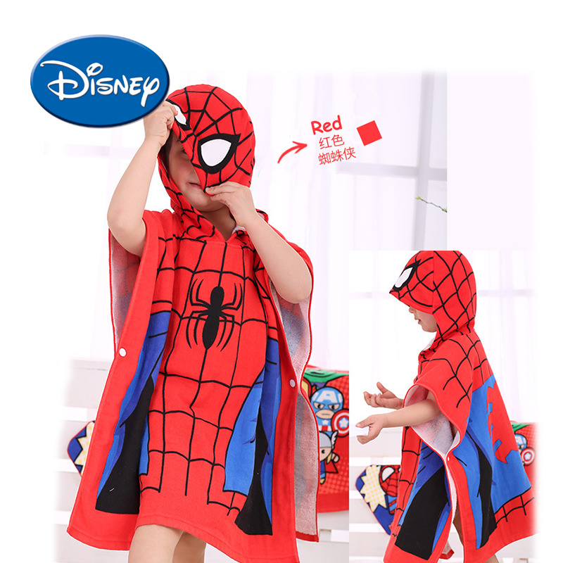 Disney Spider-Man Baby Bath Towel Children Hooded Cotton Cloak Baby Kids Boy Cartoon Swimming Beach Towel Toddler Robe women cartoon pizza print beach towel