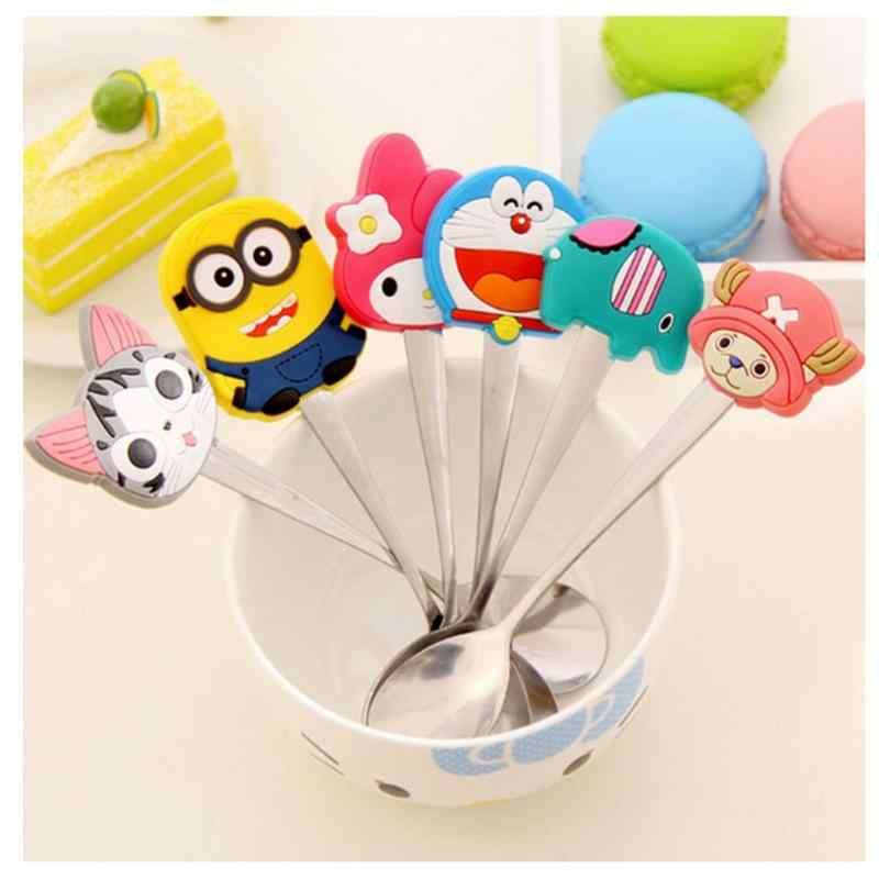 New Cute Innovative Cartoon Stainless Steel Cutlery Small Spoon PVC Soup Spoon Coffee Stir Spoon