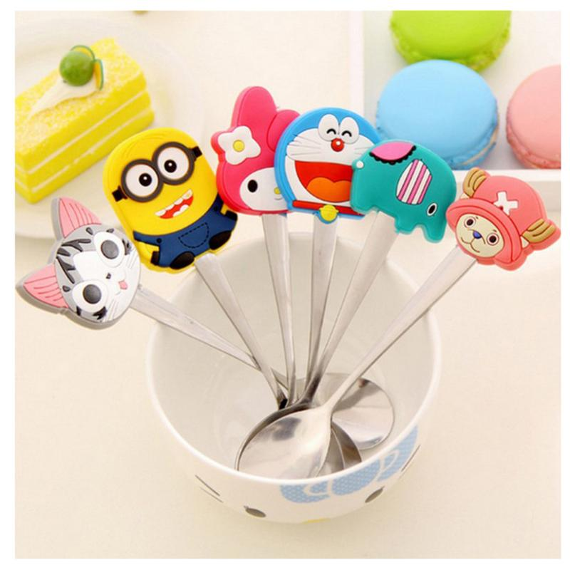 2019 New Cute Innovative Cartoon Stainless Steel Cutlery Small Spoon PVC Soup Spoon Coffee Stir Spoon