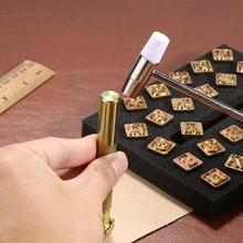 DIY 26pcs Steel Printing Punch Alphabet Letter Stamp Set Metal Leather Craft Tools Capital Letters Copper with A Pole