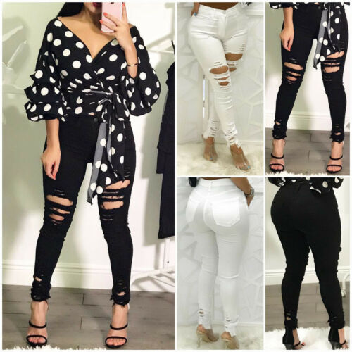 US Women Ripped Pencil Stretch Denim Skinny Jeans Pants Slim Bodycon High Waist Long Trousers