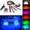 AMADFJD 4 шт. 9LED дистанционное управление цветной RGB пол салона автомобиля Атмосфера свет пропилен-каучука прокладки с 24-мя клавишами пульт дист...