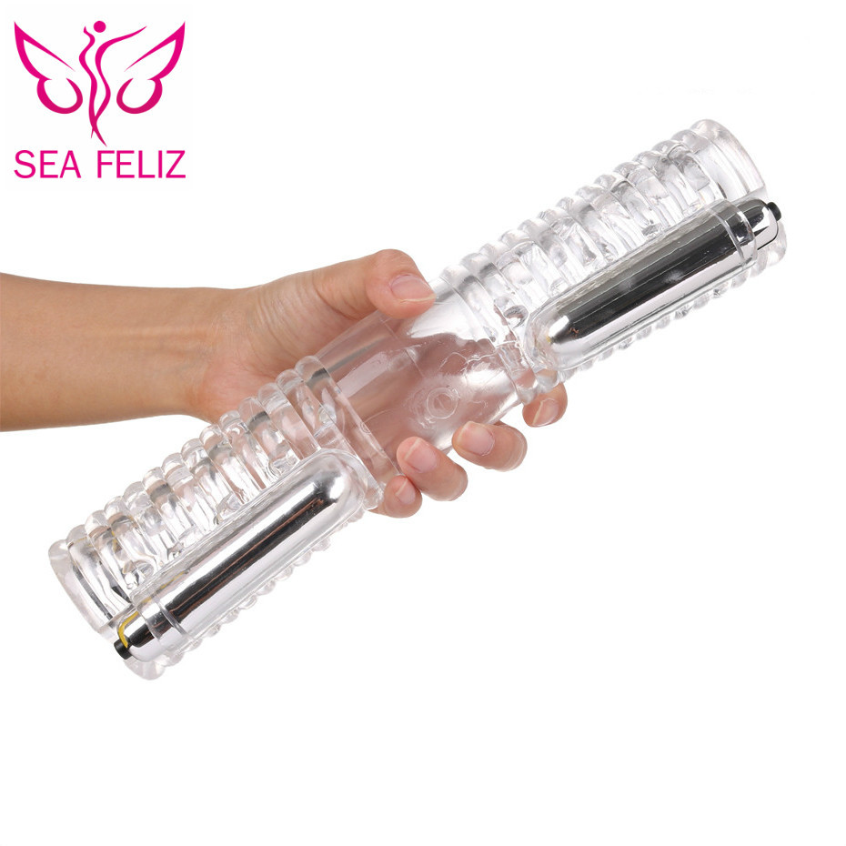 SEAFELIZ Men <font><b>Penis</b></font> Massager With 2 Caps Male Masturbator Gay Couple <font><b>Vibrator</b></font> For Man Sex Product Double Stroker Adult Sex Toy image