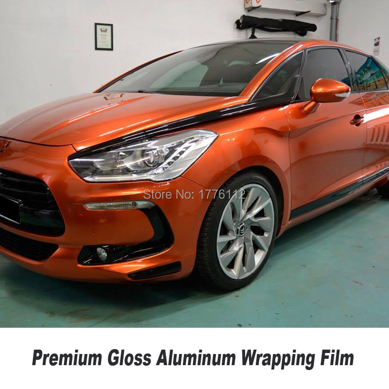 Us 255 0 High End Gloss Wrapping Paprika Orange Film Metallic Pearl Wrapping Film Orange Aluminum Solvent Based Low Initial Tack Adhesive In Car
