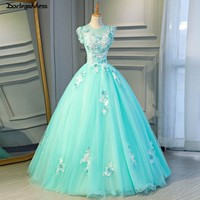 Cheap Ball Gown Long Green Quinceanera Dresses Lace Flowers Puffy Prom Ball Gowns Sweet 16 Dresses for 15 Years Debutante 2019