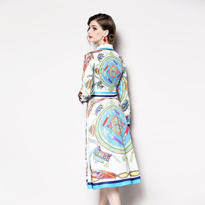 Della Autunno Modo 2019 Linea Una Di Elegante Vestido Partito giù Nuovo Marca Popolare Stile Delle Da Design Il Molla Vestiti Stampa Gira Color And Dell'annata Collare Donne YqZwtIZE