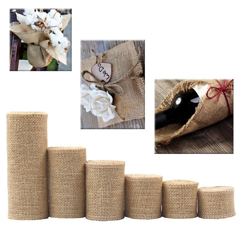 Gift Wraping Natural Hemp Ribbon Hot Sale Wedding 1M/Roll Crafts Decorative Jute Burlap Ribbon Party Bag Material DIY