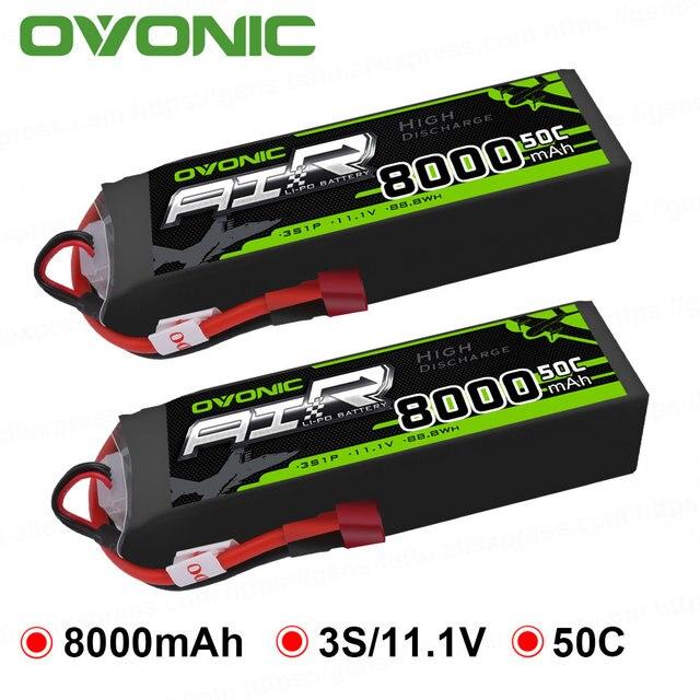 2X Ovonic LiPo Battery 8000mAh 11.1V LiPo 3S 50C-100C Battery Pack T XT60 Plug for Big Size RC Car Heli Truck Quad Drone Boat