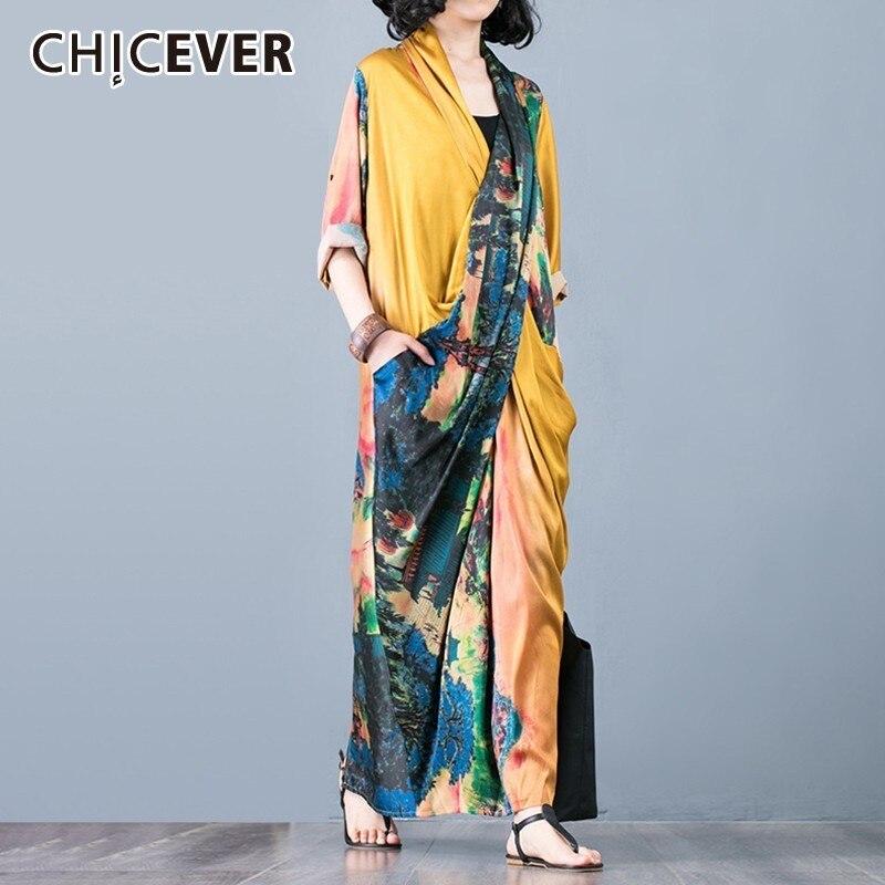 CHICEVER Summer Vintage Print Women Dress Cross V Neck Half Sleeve Patchwork Pockets Split Hem Loose