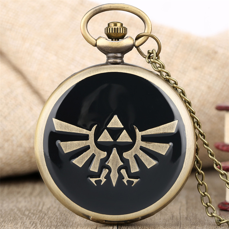 Hot Game Theme Quartz Bronze Pocket Watch Bronze Pendant Clock Men Women With Fob Necklace Chain Dropshipping