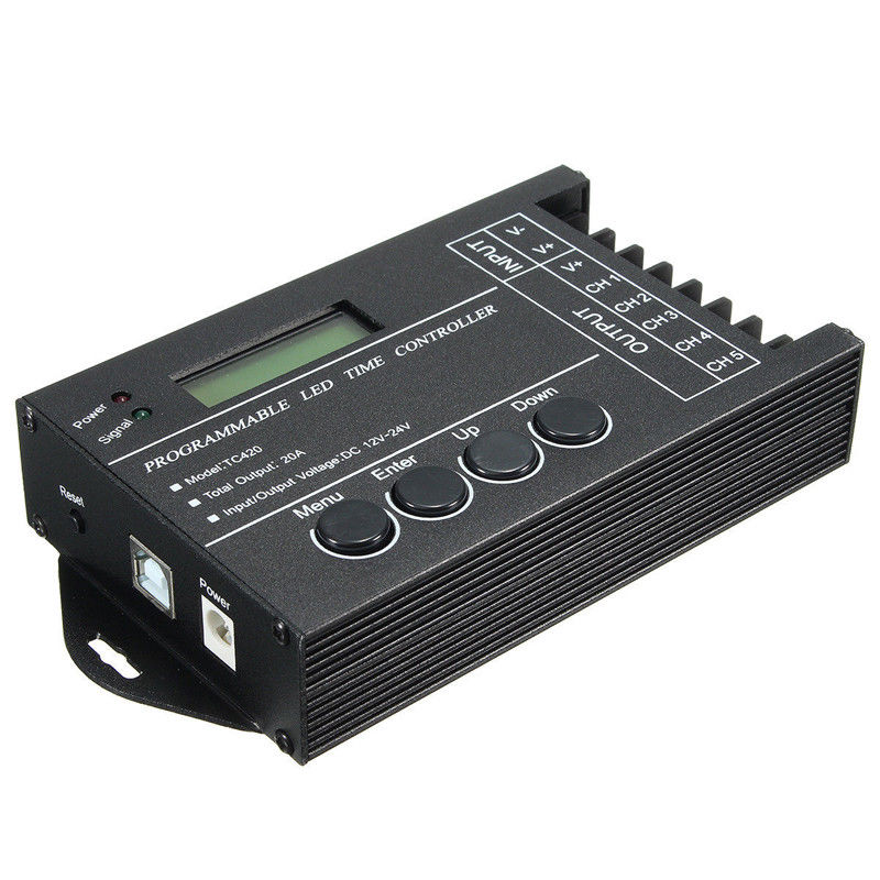 TC420 Time programmable RGB LED Controller DC12V-24V 5 Channel LED Timing dimmerTC420 Time programmable RGB LED Controller DC12V-24V 5 Channel LED Timing dimmer