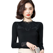 Women Black Lace Blouse Femme Tops Spring Autumn Elegant Stand Collar Long Sleeve Shirt Blusa Feminina chic black polo collar long sleeve blouse for women