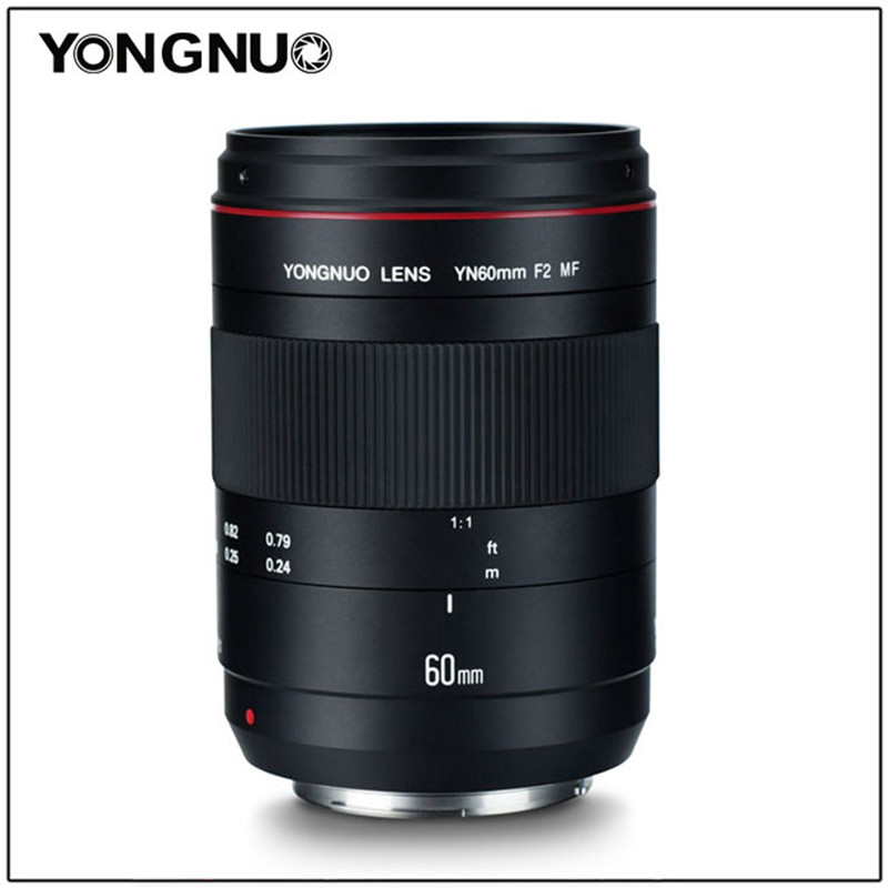 YONGNUO YN60mm F2 MF 0.234m Macro Lens Manual Focus With Distance Indicator For Canon EOS 70D 5D2 5D3 600D DSLR Camera
