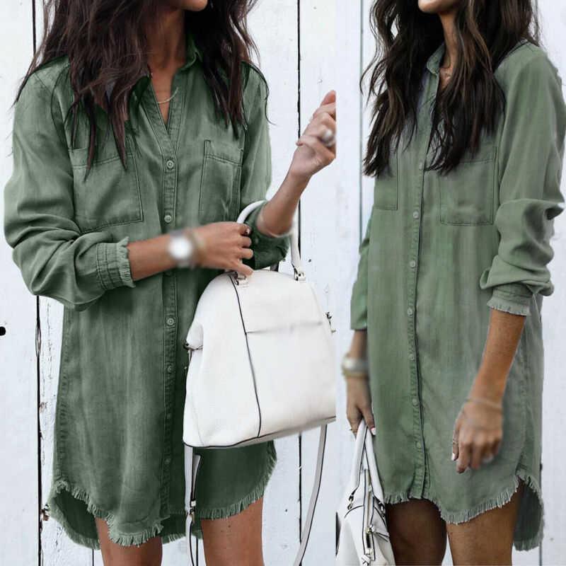 Kobiety z długim rękawem Lapel Collar Shirt Mini sukienka wakacje panie przyciski dół topy