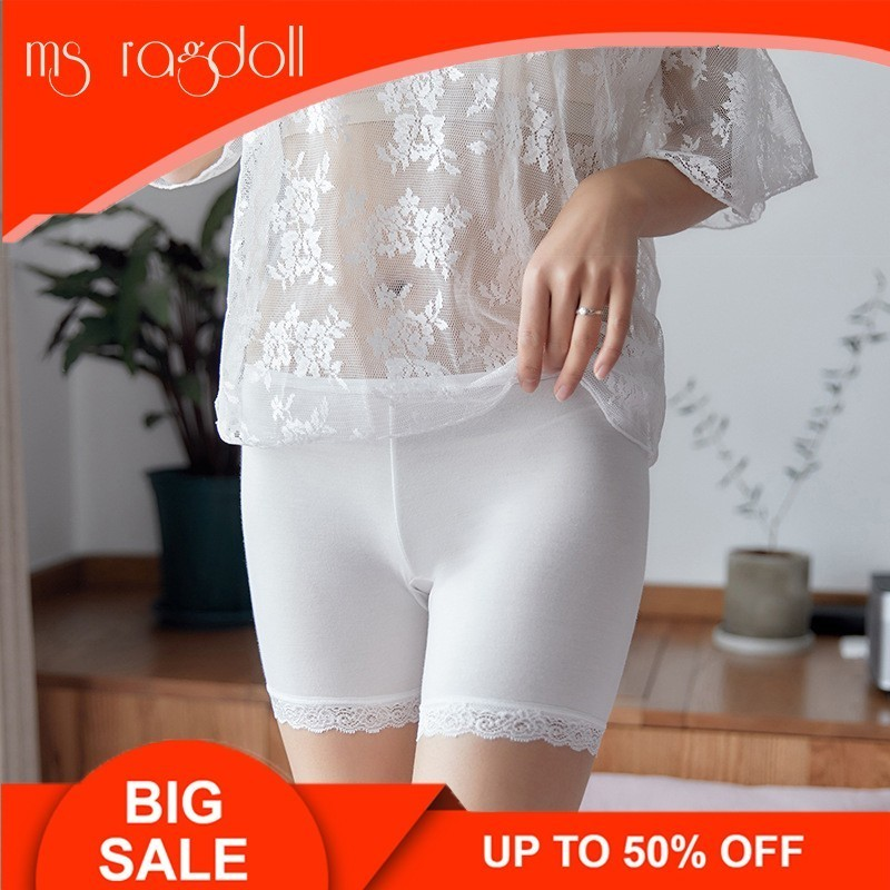 2019 Summer Plus Size Lace Women Seamless Short Pants  Trisection Shorts Underpants Girls Slimming Modal Ice Silk