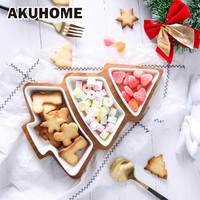 Christmas Bamboo Wood Plate Tree Tray Dish Snack Fruit Creative 28cm Full Set Ceramic Tray Snack Plate Fruit Bowl Dish Tableware