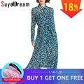 PRE SALE Women Silk dress 100%Real Silk Belted waist Long dress Short 2018 Spring Summer Dots Print Dresses New Blue