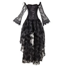 Sexy Women Bustier Gothic Dress Irregular Mesh Lace Long Sleeve Slim Party Club Palace