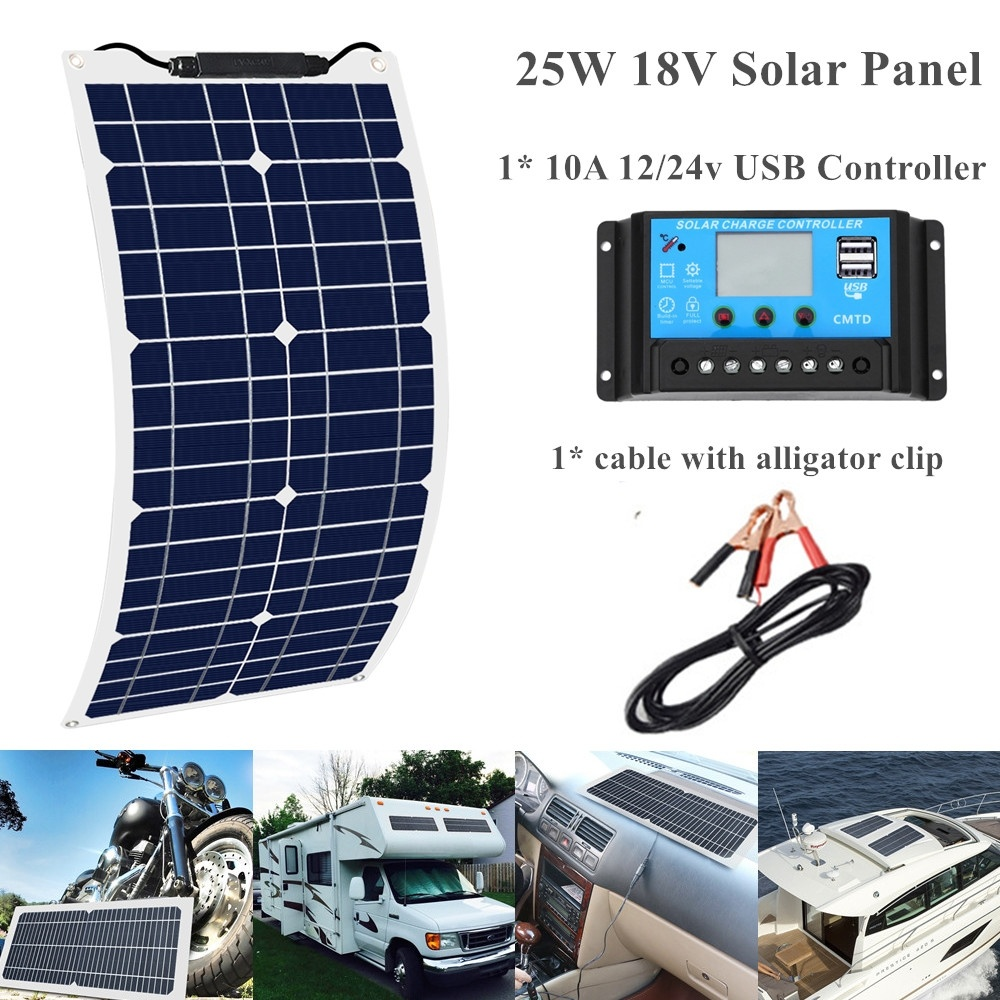 Monocrystalline LCD for Battery Module Panel Cells Controller 25w Charge Waterproof Solar 18v 12 24V Flexible