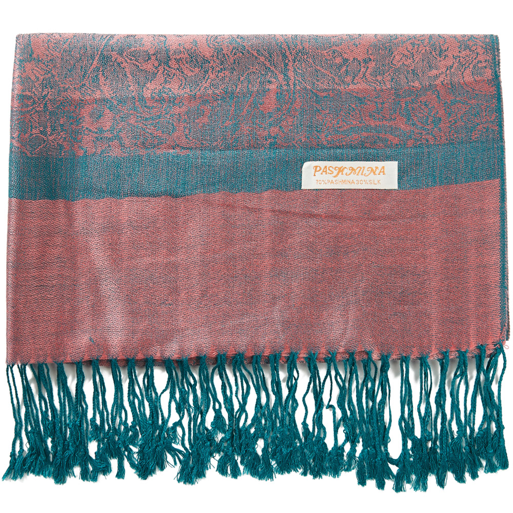 Silk Pashmina Scarf Jacquard Warp Scarf Cashmere head scarves Spring Autumn Winter Long 2 Tones Soft Large Rose Teal|Women