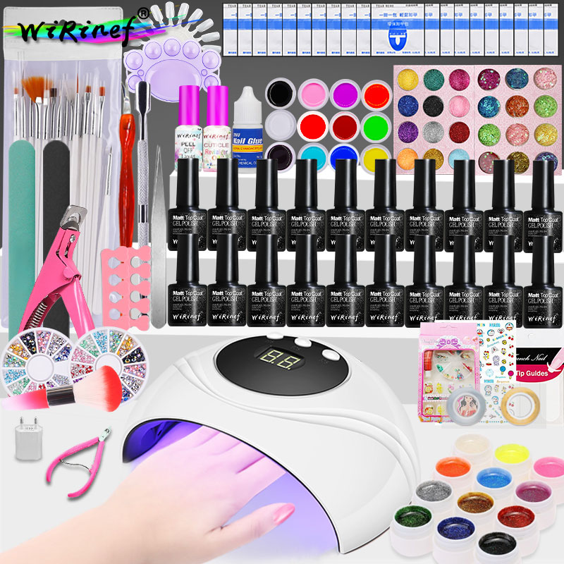 wirinef 24w uv lampada led gel unha polones conjunto kit embeber vernizes gel manicure arte ferramentas