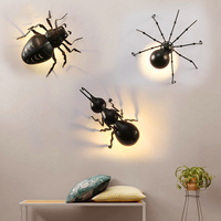 Modern Insects Decor Ant Wall Light Wall Lamps Black Loft Wall Lamps Spider Beetle Animal Fixtures Decor Luminaire