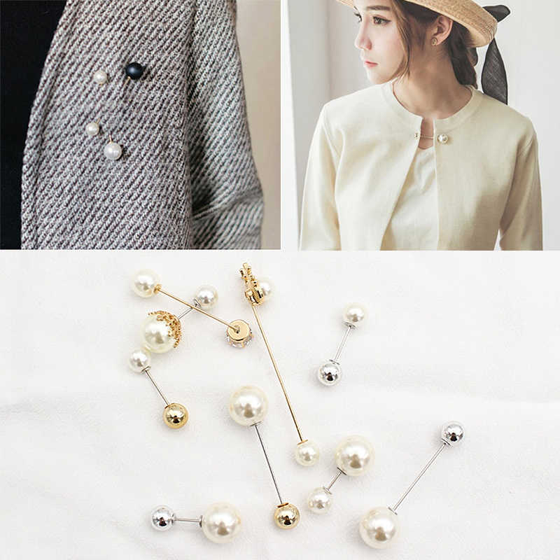 Fashion Sweater Cardigan Clip Chain Pearl Fixed Strap Charm Safety Pin Brooch UK